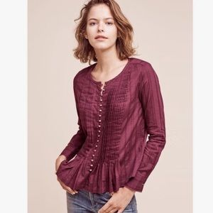 Maeve | Purple Pleated Blouse Gold Button | Small